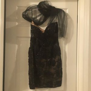 Jovani Black Sequin Lace Mini Cocktail Dress